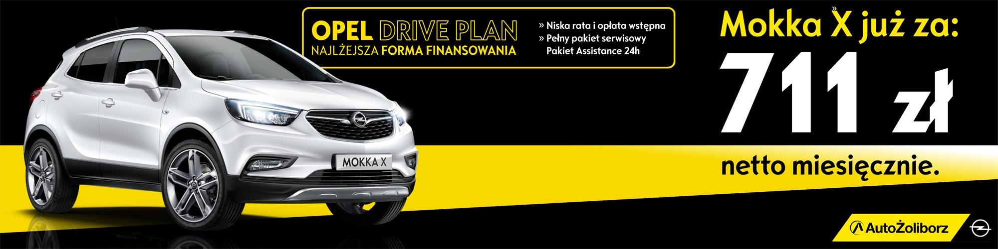 Mokka X. Kompaktowy SUV Opla już od 711 netto w leasingu Opel Drive Plan. Dostępny od ręki w  salonach AutoŻoliborz, Warszawa, Ząbki, Piaseczno