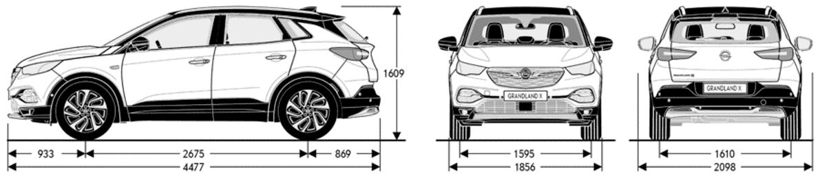 Opel Granland X wymiary, paramtery, waga, pojemność bagażnika
