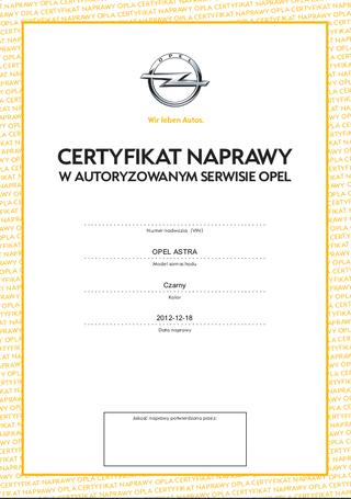Certyfikat naprawy