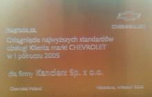 Nagroda dla Salonów Kanclerz- Autoryzowanego Dealera Chevrolet