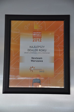Najlepszy dealer roku (posiadajacy jedną lokalizację) - Nagrody rynku dealerskiego 2012